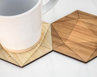 Set of 6 Geometric Wood Coasters,  cork backed