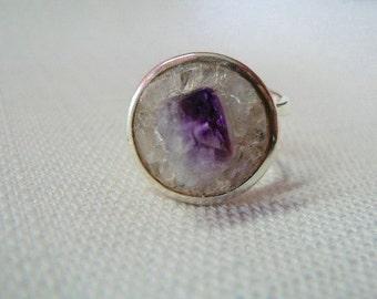 Amethyst and Clear Quartz Silver Orbit Ring - RG 241