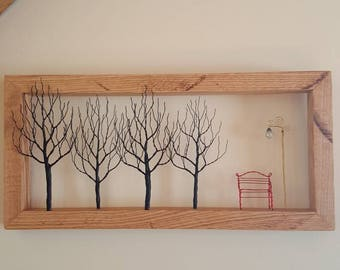 Wire Tree Park Scene. Wall Hanging. Wire Art. Metal Art. Tree Art