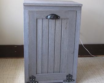 Tilt out trash bin cabinet w/ weathered wood look
