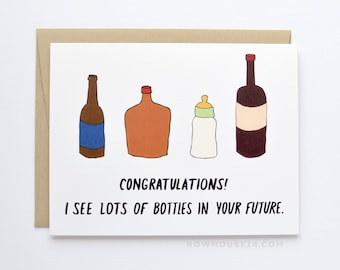 Funny New Baby Card - Expecting Parents Card - Baby Bottle Card