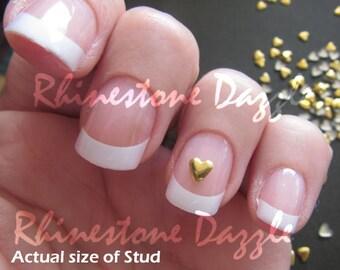 4mm gold heart nail studs, nail art, 3D nail design, diy nails, nail decoration
