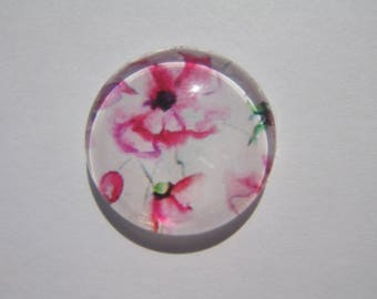 Rose cabochon 20 mm with a flower pattern