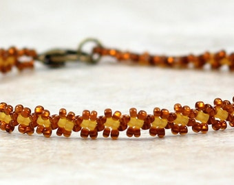 Amber Seed Bead Anklet - Daisy Chain Jewelry - Foot Ankle Bracelet - Brown Anklet - Beaded Jewelry - Summer Anklet