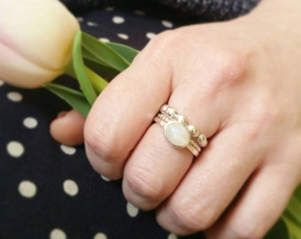 Minimalist Moonstone stacking Solitaire Ring. Custom Sterling Silver Moonstone Cabachon Ring. Custom Rainbow Moonstone ring.