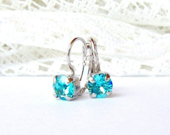 Turquoise rhinestone leverback earrings / 6mm / blue topaz / Swarovski crystal / Mother's day gift / beach wedding / for her / girlfriend