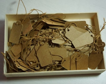50 Kraft Brown Strung Cardstock Price Hang Tags 30x15mm *Jewellery*Markets*Labels*
