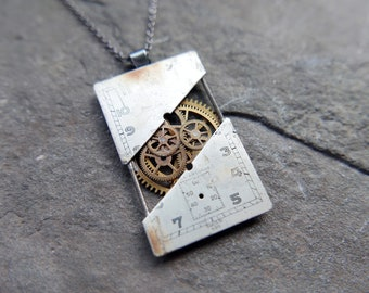 """Watch Dial Pendant """"Addison"""" Deconstructed Cut Face Necklace Recycled Upcycled Gear Art Steampunk A Mechanical Mind Gift Idea"""
