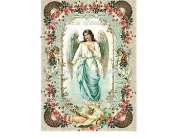 "Victorian Angels Collage Cotton Fabric Quilt Block (1) @ 5X7"" on 8.5X11"" Sheet"