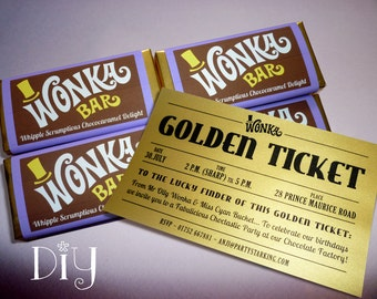 Willy Wonka birthday party Wonka Bar & Golden Ticket invitations Wonka candy bar wrappers Willy Wonka invitations printable PDF file PuRPLe
