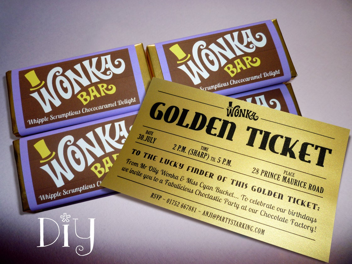 Willy Wonka birthday party Wonka Bar & Golden Ticket