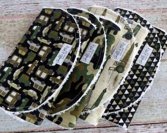 Burp Cloths - Baby Burp Cloths - Baby Boy Burp Cloths - Camouflage Burp Cloths - Race Car Burp Cloth - Military Inspired Burp Cloths