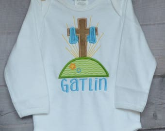 Personalized Easter Cross He Is Risen Applique Shirt or Bodysuit Girl or Boy