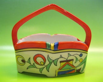Made in Japan, basket, Dish With Handle, Art Deco Style Decor, Bright Colors