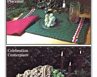 Festive Macrame Placemat & Centerpiece • 1970s Macrame Patterns Christmas Pattern Book • 70s Xmas Vintage Macramé PDF