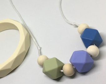 Florence - olive green, purple and blue geometric TEETHING and NURSING necklace Silicone BPA Free food grade silicone