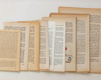 Vinatge Bookpage Set, 40 Sheets | Pages from Old Books | Bookpages for Crafting