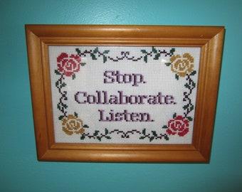 PATTERN Stop Collaborate Listen Vanilla Ice Ice Baby Cross Stitch Instant Download pdf