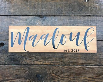 Last Name Sign, Name Wood Sign, Family Name Sign, Established Sign, Anniversary Gift, Signs For Home, Wedding Gift