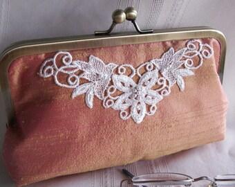 Handmade embellished silk clutch. Iridescent pink, yellow, coral. FRESH MANGO by Lella Rae on Etsy