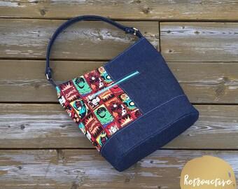 Marvel Comics Bucket Bag - Marvel Tote Bag - Zippered Tote Bag - Bonnie Bucket Bag