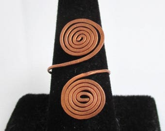 Hammered & Curled Copper Bypass Ring - Adjustable Size, Vintage Patina