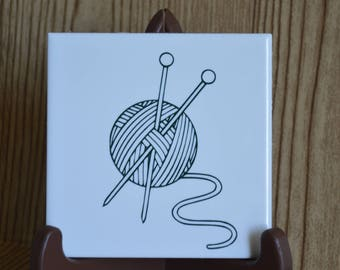 Knitting Needles Ceramic Coaster Set