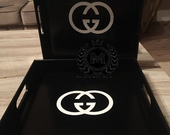 Gucci Decorative Black and White Tray Inspired by a Designer