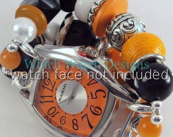 Halloween Time.. Chunky Black and Orange Wood, Resin, Glass and Acrylic Interchangeable Beaded Watch Band