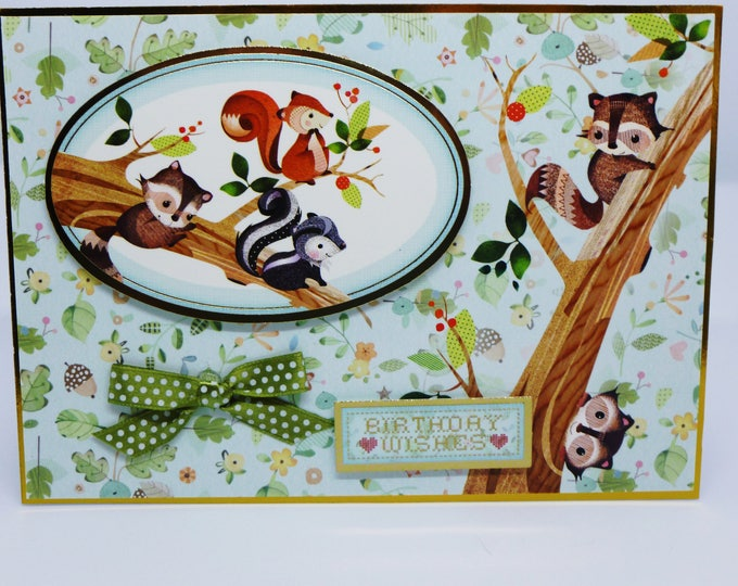 Woodland Creatures, Animals, Nature Card, Squirrels in a Tree, Birthday Card, Male or Female, Any Age, Sister, Brother