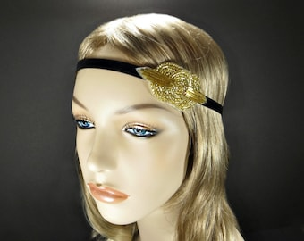 Gold Beaded Headband, Vintage Inspired Flapper Headband, Downton Abbey, 1920s Headpiece, Art Deco Fascinator, Great Gatsby Headband