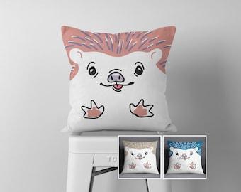 Hedgehog Throw Pillow, Pet Portrait, Pink, Blue, Tan, Woodland, Kids Room Decor, Baby Girl, Hedgehog Accessories, Cute, Scandinavian Art