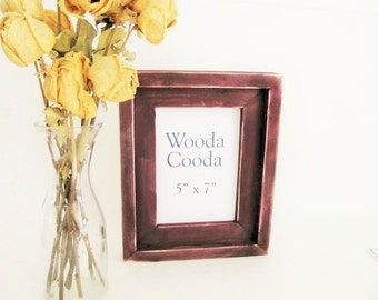5x7  Purple wood picture frame. Stacked antique distressed picture frame.
