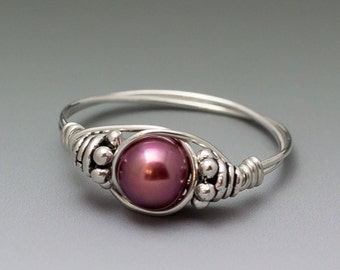 Magenta Pink Pearl Bali Sterling Silver Wire Wrapped Bead Ring - Made to Order, Ships Fast!