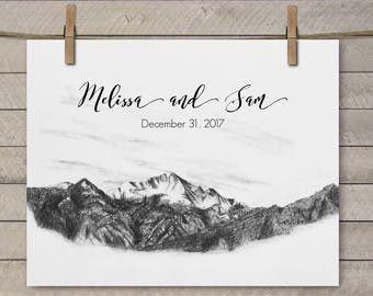 Colorado Wedding Gift - Colorado Wedding Pike's Peak - Personalized Colorado Wedding Gift - Colorado Springs Wedding - Pike's Peak Gift -Art