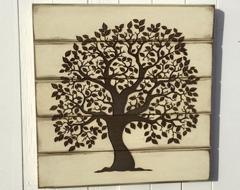 Tree of Life, Antiqued Ivory Tree of Life, Wooden Laser Engraved Sign, Rustic Farmhouse Wall Decor