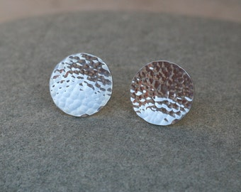 sterling silver hammered stud earrings- hammered post earrings- metalworks stud - contemporary jewelry