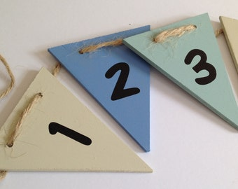 Number bunting, one to ten, wooden bunting, flag bunting, blue mix bunting, hand painted, counting aid, bunting, children's room decoration