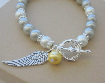 Miscarriage, loss, angel, wing charm, silver, white glass pearls bracelet. CHOOSE month.