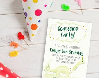 Personalised dinosaur birthday invite, boys birthday invitation, dinosaur party invite, dinosaur party, girls dinosaur invite