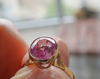 Synthetic Pink Sapphire Rose Gold Ring