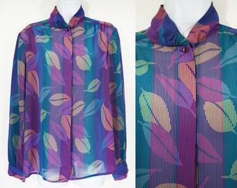 7 Dollar Sale---Vintage 80's HABERDASHERY by PERSONAL Leaf Pattern Sheer Blouse M