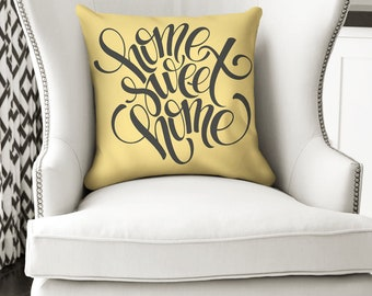 18x18 Home Sweet Home Pillow, New Home Pillow, Pillow or Pillow Cover, Realtor Gift, Real Estate Closing Gift, Yellow Throw Pillow, Decor