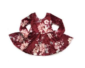 Ready to ship- Burgandy Floral Velvet Dress