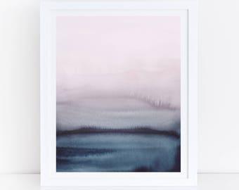 Watercolor Printable Art, Blue Pink Wall Art, Modern Living Room Art, Watercolor Print, Digital Download, Modern Watercolor, 18x24 Art