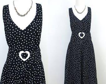 Vintage Black & White Polka Dot Love Heart Dress LANZ Sz S M US 6 8 Aus 10