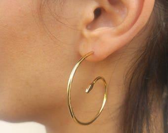 Snake Hoop Earrings, Gold Snake Earrings, Serpent Earrings, Unique Gold Hoop Earrings, Spiral Hoop Earrings Gold, Swirl Earrings,Snake Hoops