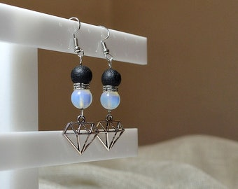 Silver diamonds greek meander basalt and moonstone round beads