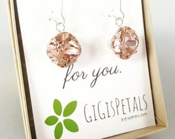 Vintage Blush Swarovski Earrings - Blush Wedding Earrings - Blush Bridesmaid - Sparkle Earrings - Bridesmaid Earrings - Blush Rose Earrings