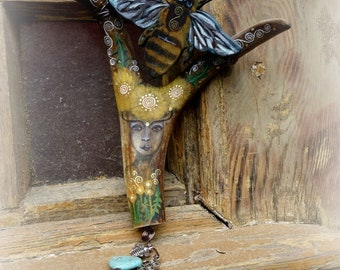 Lady of the Greening hand painted antler